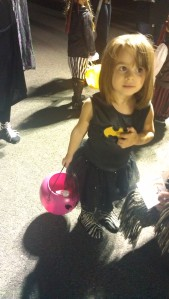 3-year-old in batgirl dress