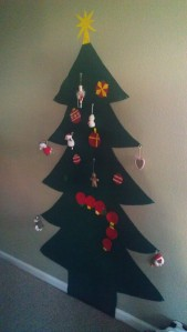 Photo of  a large tree made of felt