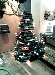 stack of books that make a tree