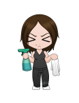 Unhappy cleaning chibi