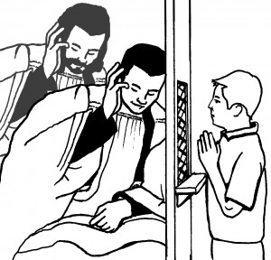 drawing of kid confessing to a priest