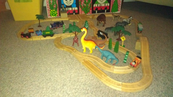 Thomas the Train Set with dinosaurs