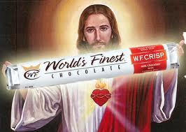 Jesus holding a candy bar