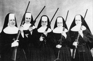 Nuns holding guns